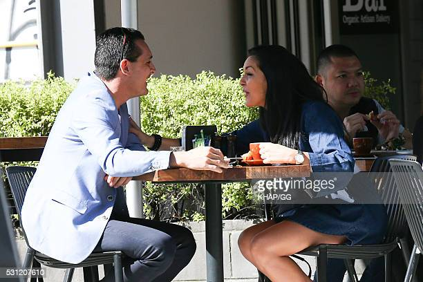 Married At First Sight contestant Christie Jordee is seen having breakfast with a mystery man on April 25 2016 in Sydney Australia