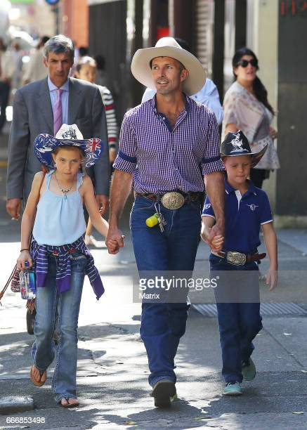 Married At First Sight contestants Anthony Manton catches up with Sean Hollands and his kids on March 27 2017 in Sydney Australia
