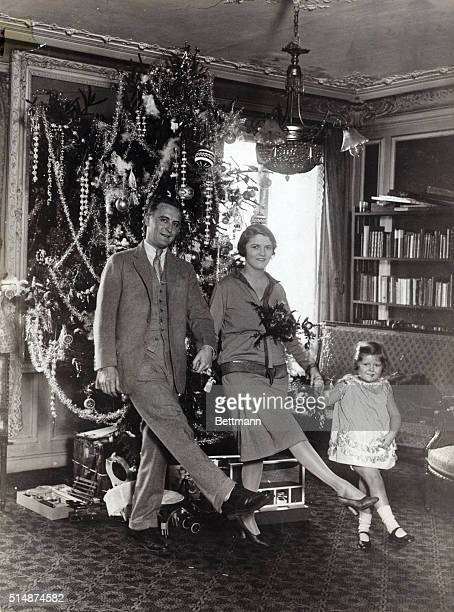 Scott Zelda and Scottie Fitzgerald doing kick step in front of Christmas tree Undated Photograph BPA2# 2433