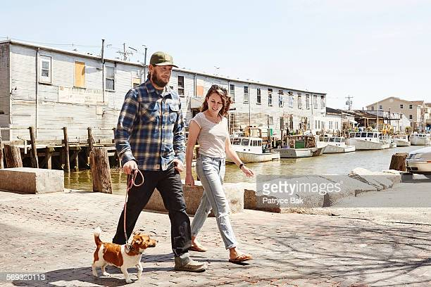 married couple & dog, maine small business owners - portland maine stock pictures, royalty-free photos & images