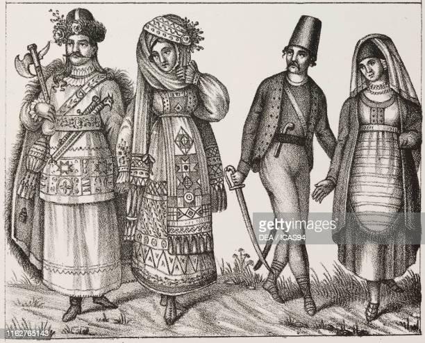 Married couple from Illyria and a Morlach couple Austrian Empire lithograph from Galleria universale di tutti i popoli del mondo ossia storia dei...