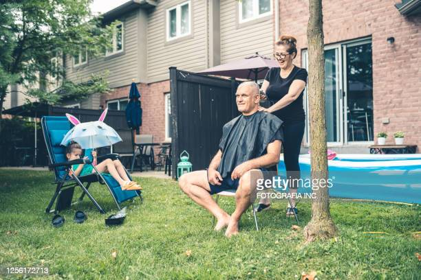 married couple home grooming - wife stock pictures, royalty-free photos & images