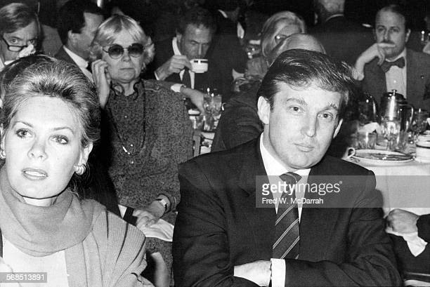 Married couple Ivana and Donald Trump attend a Daily News panel, New York, New York, late 1980s or early 1990s.