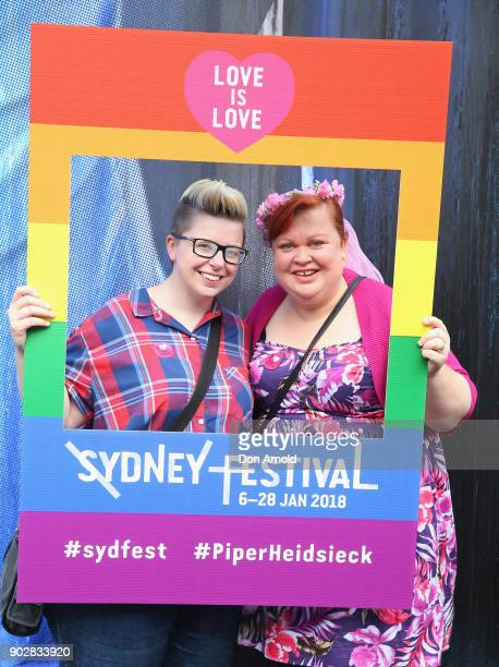 Married couple Melissa Cowgill and Sharon Taylor pose as part of a Sydney Festival event to celebrate the first day samesex marriage is legal in...