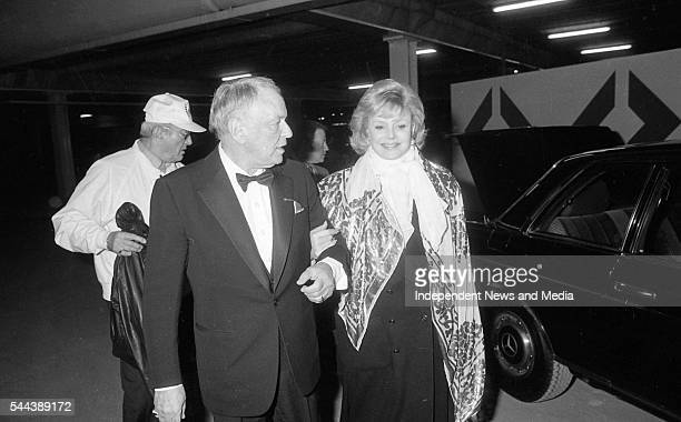 Married couple musician Frank and Barbara Sinatra arrive at Dublin Airport Dublin Ireland May 4 1989