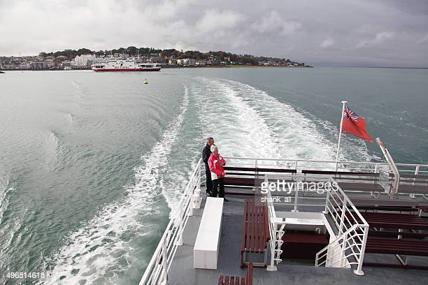 married couple of ferry in solent, uk - isle of wight stock pictures, royalty-free photos & images
