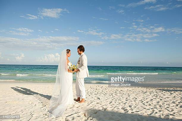 married couple on beach - quintana roo stock pictures, royalty-free photos & images