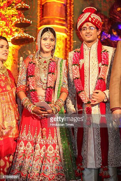 A married couple Ritik and Swapnil daughter of Dr Anil Kumar Sharma Chairman and Managing Director Amrapali Group during their marriage on February...