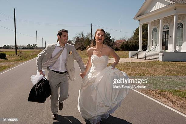 Married couple running