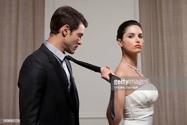 married cupple - women dominating men stock photos and pictures
