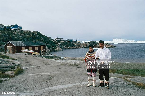 Married Inuit couple, Ilulissat, Greenland.