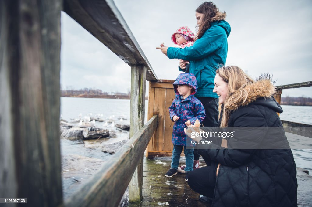 Married Lesbian Couple with their Kids Feeding the Ducks at the Lake : Stock Photo