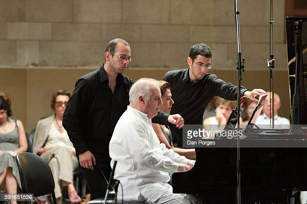 Married pianists Daniel Barenboim and Elena Bashkirova perform on sidebyside pianos during the 13th Jerusalem International Chamber Music Festival at...