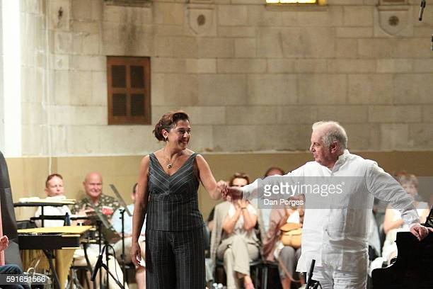 Married pianists Elena Bashkirova and Daniel Barenboim take a bow after their performance in the 13th Jerusalem International Chamber Music Festival...