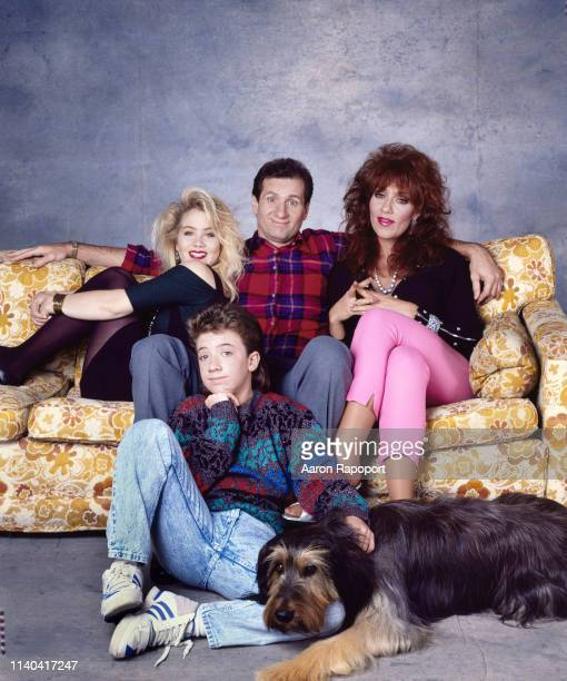 Married With Children actors Christina Applegate David Faustino Ed O'Nell and Katy Saga l pose for a portrait in October 1988 in Los Angeles...