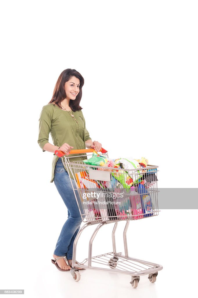 Married woman with a shopping cart : Stock Photo