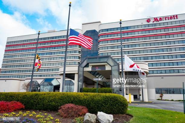 Marriott hotel with flags flying at half mast for Pearl Harbor Day near Baltimore Washington International Airport in Linthicum Heights Maryland...