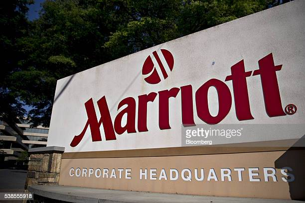 Marriott International Inc. Signage is displayed outside company's headquarters in Bethesda, Maryland, U.S., on Wednesday, June 1, 2016. With the...