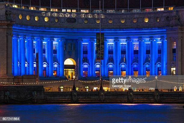 Marriott's County Hall Hotel is bathed in blue light on September 11 in London England The collapse of Great Britain following the recent Brexit vote...
