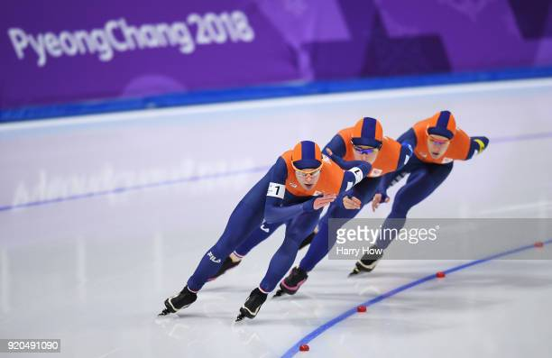Marrit Leenstra Antoinette De Jong and Ireen Wust of the Netherlands compete during the Ladies' Team Pursuit Speed Skating Quarterfinals on day 10 of...