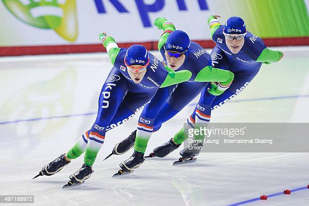 Marrit Leenstra Antoinette De Jong and Marije Joling of The Netherlands skate to a first place finish in the Women's team pursuit during the ISU...