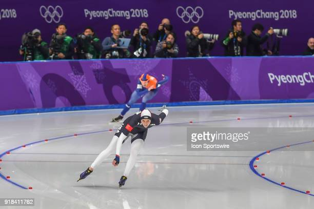 Marrit Leenstra in the outside lane and Heather Bergsma head down the backstretch during the 1000M Ladies Final during the 2018 Winter Olympic Games...
