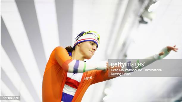 Marrit Leenstra of the Netherlands gets ready to compete in the Womens 1500m race on day two during the ISU World Cup Speed Skating held at Thialf on...