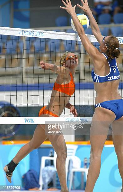 Marrit Leenstra of the Netherlands in action against the Czech Republic women's beach volleyball team. Netherlands was defeated by the Czech...