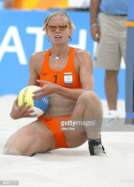 Marrit Leenstra of the Netherlands in action against women's beach volleyball team Netherlands was defeated by the Czech Republic August 15 Athens...