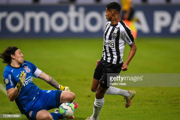 Marrony of Atletico MG and Cassio of Corinthians battle for the ball during a match between Atletico MG and Corinthians as part of Brasileirao Series...