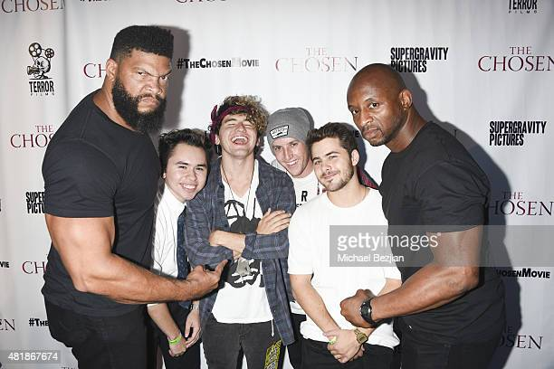 Mars Crain Joseph Hernandez JC Caylen Corey La Barrie Dominic DeAngelis and Liron Wilson arrive at the world premiere of the movie THE CHOSEN on July...