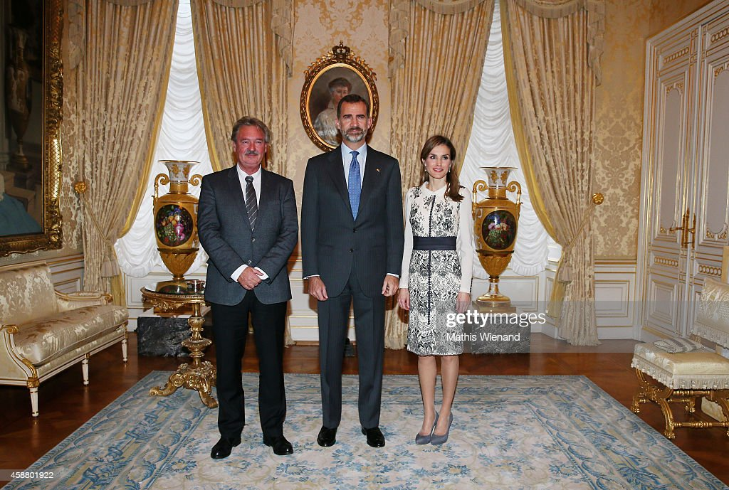 Mars Di Bartolomeo with King Felipe VI of Spain and Queen Letizia of Spain during a one day visit to Luxembourg on November 11, 2014 in Luxembourg, Luxembourg.
