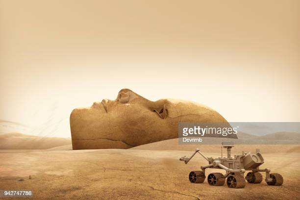mars explorer and landscape face - mars stock pictures, royalty-free photos & images