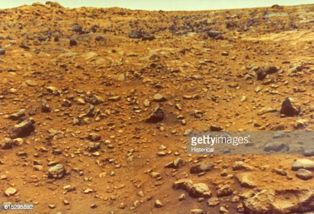A Mars lander of Viking 1 produced this first color image of the red planet's surface