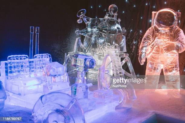 Mars Landing theme is displayed at openning of Zwolle Ice sculpture Festival in Zwolle, Netherlands on 14 December 2019. Zwolle ice Sculpture...