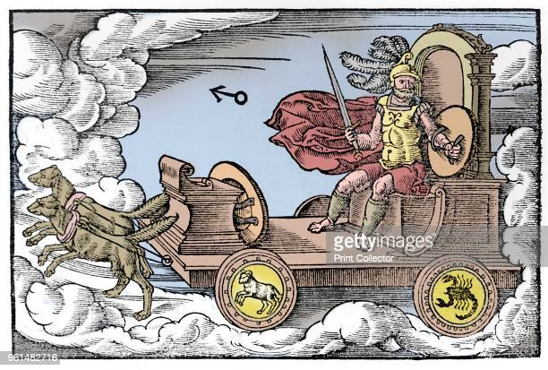 Mars Roman god of war 1569 Mars riding in his chariot pulled by dogs Mars was regarded as a male planet hot and fiery Those born under Mars have a...