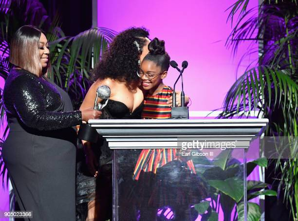 Marsai Martin accepts award for Outstanding Supporting Actress in a comedy from Tamera MowryHousley and Loni Love at the 49th NAACP Image Awards...