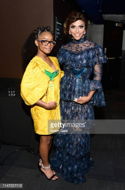 Marsai Martin and Shangela pose backstage during the 11th Annual Shorty Awards on May 05, 2019 at PlayStation Theater in New York City.