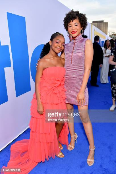 Marsai Martin and Storm Reid attend the premiere of Universal Pictures Little at Regency Village Theatre on April 08 2019 in Westwood California