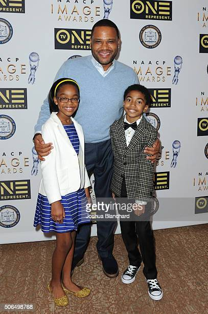 Marsai Martin Anthony Anderson and Miles Brown arrive at the 47th NAACP Image Awards Nominees' Luncheon at The Beverly Hilton Hotel on January 23...