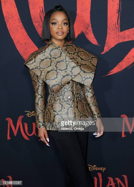Marsai Martin arrives for the Premiere Of Disney's Mulan held at Dolby Theatre on March 9 2020 in Hollywood California