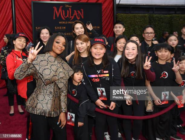Marsai Martin attends Disney's Mulan World Premiere Red Carpet Fan Pen at Dolby Theatre on March 09 2020 in Hollywood California