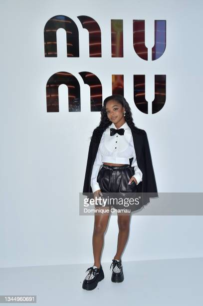 Marsai Martin attends Miu Miu show Photocall as part of the Paris Fashion Week - Womenswear Spring Summer 2022 on October 05, 2021 in Paris, France.