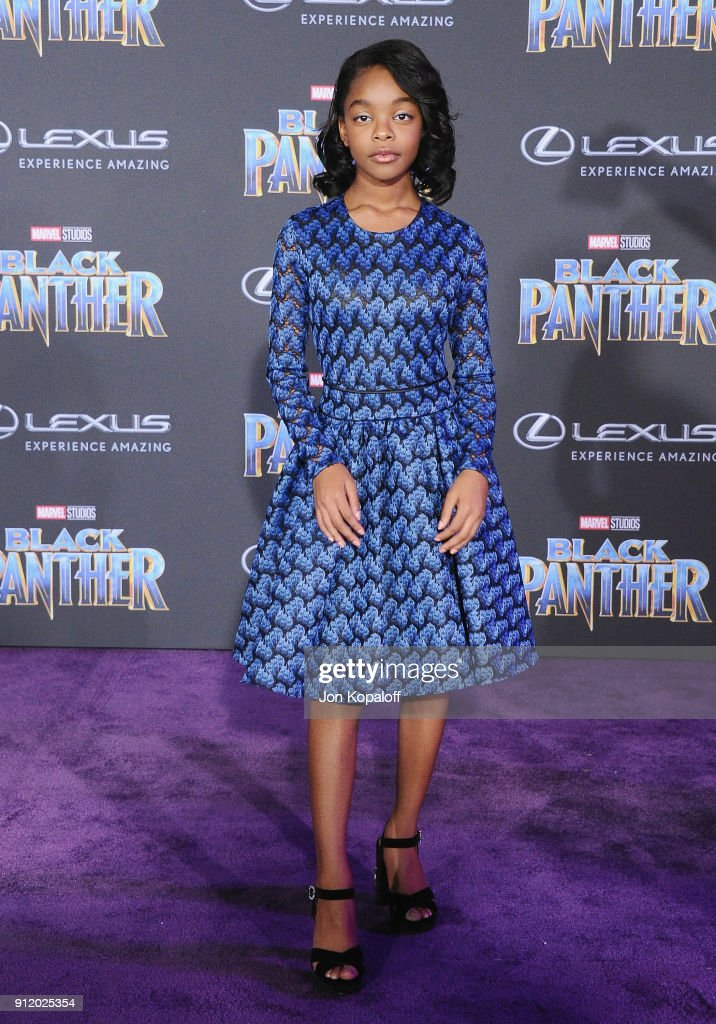 Marsai Martin attends the Los Angeles Premiere 'Black Panther' at Dolby Theatre on January 29, 2018 in Hollywood, California.