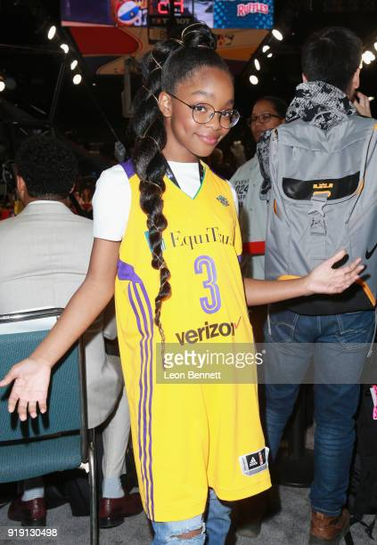 Marsai Martin attends The NBA AllStar Celebrity Game 2018 Presented By Ruffles at Verizon Up Arena at LACC on February 16 2018 in Los Angeles...