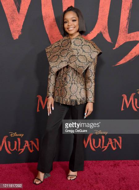Marsai Martin attends the Premiere Of Disney's Mulan on March 09 2020 in Hollywood California