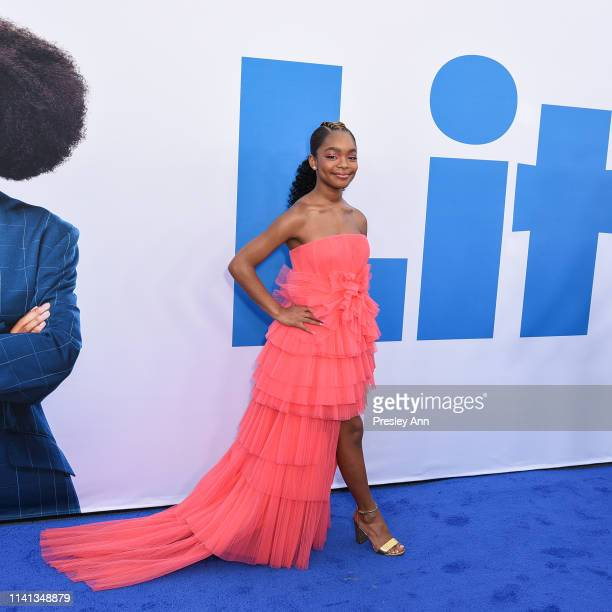 Marsai Martin attends The Premiere Of Universal Pictures Little at Regency Village Theatre on April 08 2019 in Westwood California