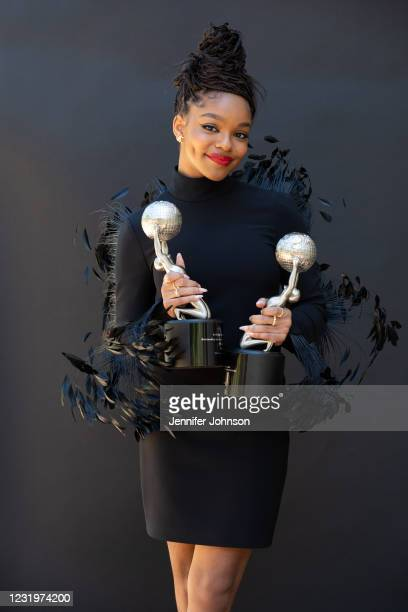 Marsai Martin gets ready for the 52nd NAACP Image Awards Virtual Experience on March 27, 2021 in Los Angeles, California. The week-long virtual...