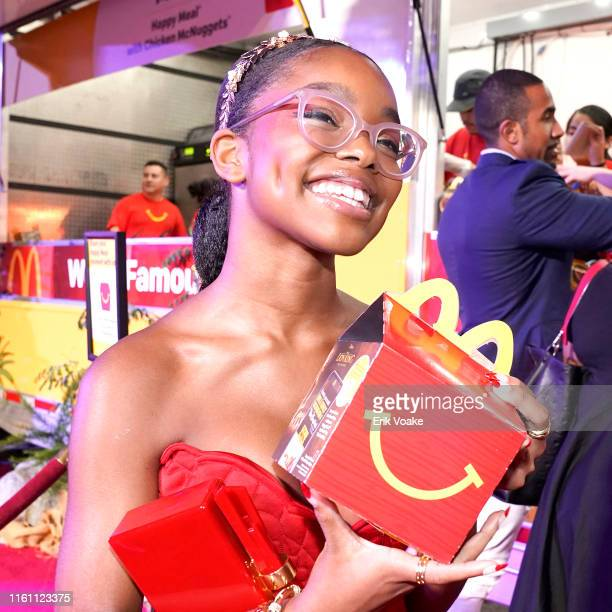 Marsai Martin is seen as McDonald's brings Happy Meals and Festive Moments to The Lion King Premiere After Party at Dolby Theatre on July 09 2019 in...