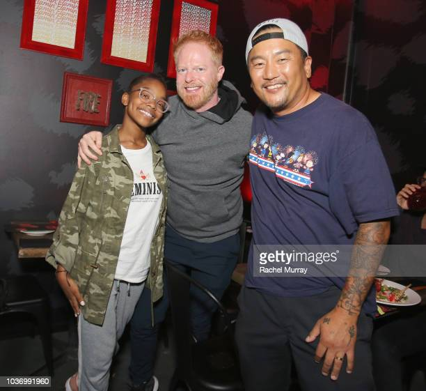 Marsai Martin Jesse Tyler Ferguson and Roy Choi attend The Flamin Hot Spot Cheetos new limitedtime restaurant with a menu inspired by chef Roy Choi...
